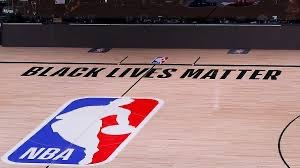 "The NBA is in full support of the BLM movement by placing the slogan ""Black Lives Matter"" on their courts."