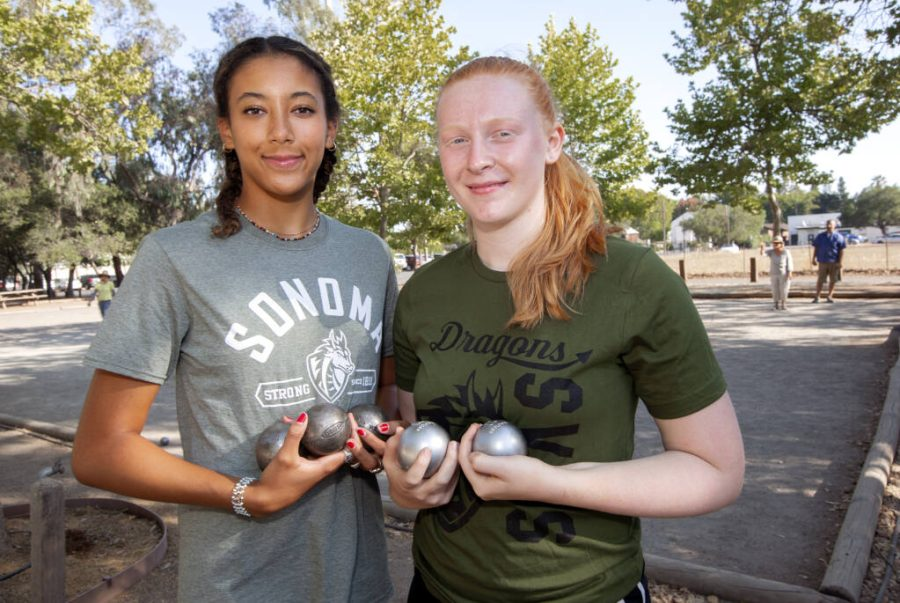 Sonoma high school seniors Natalie Wetzel, left, and Rosie Houghton at the Petanque courts in Sonoma on Wednesday, 25 Aug., 2021. (Photo by Robbi Pengelly/Index-Tribune)